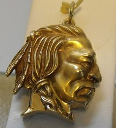 14K YELLOW GOLD 3D DETAILED BUFFALO INDIAN NICKEL CHIEF CHARM PENDANT