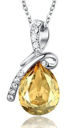 ARCO IRIS Eternal Love Teardrop Swarovski Elements Crystal Pendant Necklace for Women W 18k White Gold Plated Chain Gold Tone Yellow Topaz
