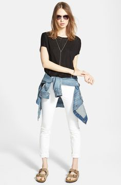 Madewell Denim Jacket, Linen Tee & Skinny Jeans available at Capsule Wardrobe, Summer Wardrobe, Wardrobe Ideas, Casual Outfits, Cute Outfits, Fashion Outfits, Fashion Tips, Fashion Moda, Womens Fashion