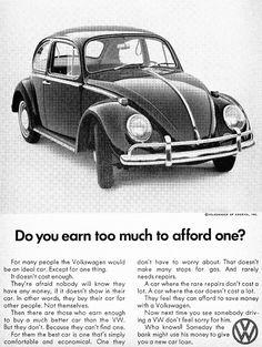 1968 Volkswagen Beetle advertentie. De Volkswagen Beetle wordt geproduceerd sinds 1938).