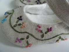 Organic Baby Shoes Mary Jane Hemp Linen Hand by BobkaBaby on Etsy, $75.00