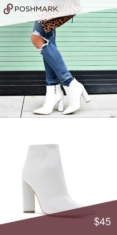 NEW! White patent Ankle BOOTIE w/ unique heel Isn't this white pointed patent BOOTIE just amazing!  This material is patent, but also has texture. The toe is pointed but comfortable. The sole is single sole yet the incline is not steep so not a lot of pressure on the ball of your foot. The heel is chunky and has design flare. Qupid is just amazing!   percent vegan materials and runs true to size. Wear this white patent ankle bootie NOW and combine I nto your Spring and Summer wardrobe as…
