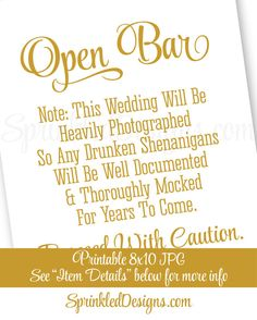 Drunken Shenanigans Open Bar Sign - You've Found The Bar, Cash Bar Sign, Alcohol Sign, Printable Gold Wedding Reception Decor, Wedding Signs - SprinkledDesigns.com