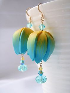 Spring Tulip Earrings handmade polymer clay by BlueMerlinCreations, $23.00