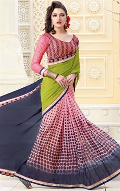 Incredible Pink, Gray and Green Georgette Printed Saree