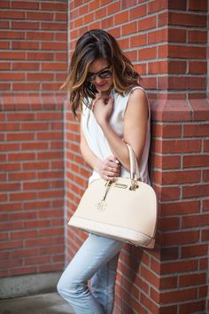 Spring Style | Neutral Handbag | Denim and White | Sleeveless Vest | Street Chic | www.stylemissmolly.com
