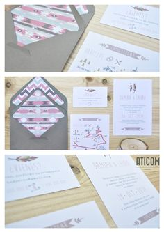 "Invitaciones de boda ""Indiana"" ~Aticom."