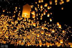 Yi Peng sky lantern ceremony at Maejo University to the north of Chiang Mai, Thailand