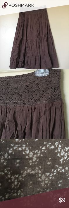 Brown Maxi Skirt Adorable maxi skirt made of 100% cotton. Soft and flowy, perfect for everyday wear! Periscope Skirts Maxi
