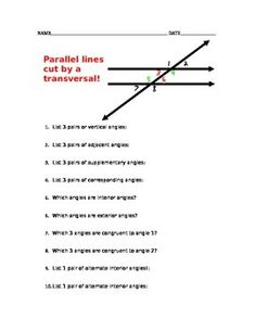 Parallel lines cut by a transversal vocabulary worksheet Printable Chore Chart, Free Printable Worksheets, Parallel And Perpendicular Lines, Lesson Planet, Online Templates, Financial Stress, Primary Lessons, Vocabulary Worksheets, Class Schedule