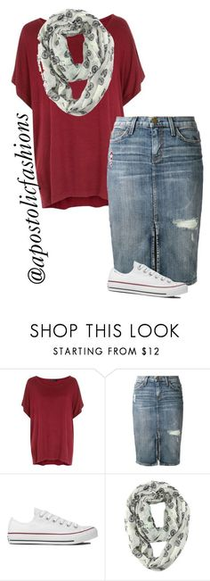 """Apostolic Fashions #1277"" by apostolicfashions ❤ liked on Polyvore featuring Current/Elliott and Converse"
