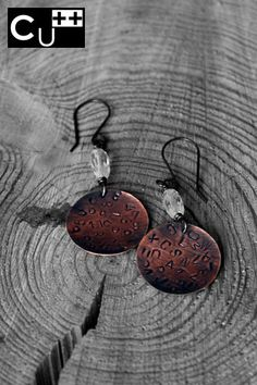 Copper earrings. Letter stamping.  Copper and quartz beads.