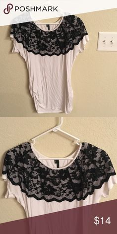 Maurice's White & Black Lace Blouse CLOSET CLEAN OUT FINAL MARKDOWN. Moving on 2/10 and whatever is not sold by then is being donated to a local store. Willing to bundle for a discount and will negotiate respectful offers! Smoke free home and same or next day shipping!   No Holes or Tears. Fits M/L Tops Blouses