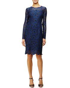 TB1XJ Elie Tahari Bellamy Long-Sleeve Crochet Lace Dress