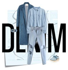 """""""Blue."""" by juliasteiwer ❤ liked on Polyvore featuring Post-It, Sandy Liang, H&M, STELLA McCARTNEY, Platadepalo and alldenim"""