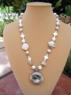 White Shells Locket Necklace Hand Beaded Necklace Locket