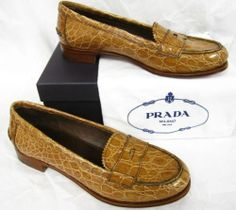 Prada Shoes Tan Cork Color Genuine Alligator Skin Loafers Sz 11 New in Box $1200 | eBay