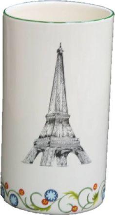 Vase faïence cylindre Paris H18,5cm