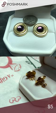 Avon Gold Disc Earrings with Amethyst Gold Tone Earrings with Purple Stone, I'm guessing glass. Stamped Avon on the backs. Stud Pierced Like New... does not come with box shown Avon Jewelry Earrings