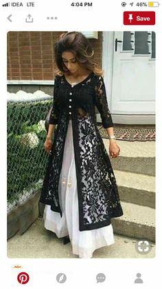 design Dresses Anarkali - Net Machine Work Black Unstitched Long Anarkali Suit at INR 1329 Look Fashion, Indian Fashion, Latest Pakistani Fashion, Vetement Hippie Chic, Stylish Dresses, Fashion Dresses, Casual Dresses, Formal Dresses, Long Anarkali