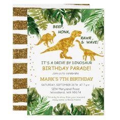 Dinosaur Drive By Birthday Parade Invitation #Birthday #BirthdayInvitations #BirthdayInvites Girl Dinosaur Birthday, Dinosaur Birthday Invitations, Free Printable Birthday Invitations, 5th Birthday, Party Stores, Party Shop, Dinosaur Printables, Happy Party, The Good Dinosaur