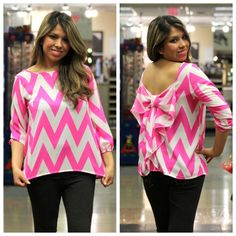 TREND ALERT! Chevron Bow Back Chiffon Blouse in Pink - Andreas Boutique #ootd #ootn #blog #fashion
