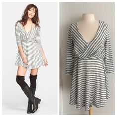 """FLASH SALE!! Free People dress Beautiful FP dress. Size M. Measures 36"""" long with a 34"""" bust. The back plunges semi low. Dress is lined. Very stretchy! The shell of this dress is 52% polyester/ 38% cotton. The lining is 100% rayon. Gray/ black color combination.  NWT. Brand new with tagsNo trades. Poshmark onlyI am very open to fair offers! Free People Dresses"""