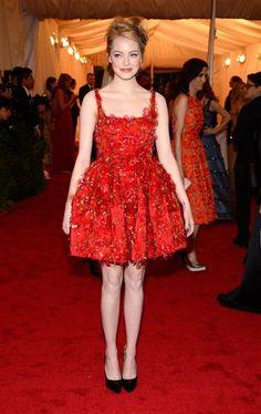 Emma Stone red detailed petal dress.