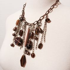 """Copper Mix Media Necklace Copper link chain accented with various lengths of small chain with glass and other materials beads. Simply stunning! 18"""" long with 3"""" extender. Lobster claw closure. Fashion jewelry Jewelry Necklaces"""