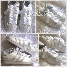 best service 4a0c4 05a48 Swarovski Crystal and Pearl Design Bridal Adidas Superstar Wedding Shoes -  Bling Rhinestone Adidas - Bridal Adidas - Pearl Wedding Shoes