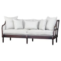 Nouvel Modern Classic Off-White Dark Wood Frame Cabriole Sofa | Kathy Kuo Home