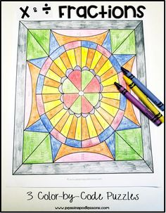 Multiplying and Dividing Fractions Coloring Activity ⭐ Fractions Worksheet Fraction Activities, Color Activities, Math Games, Dividing Fractions, Multiplying Fractions, Equivalent Fractions, Math Division, Multiplication And Division, Long Division