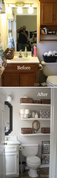Gorgeous Master Bathroom Makeover. I really like the shelves replacing the cabinets :)