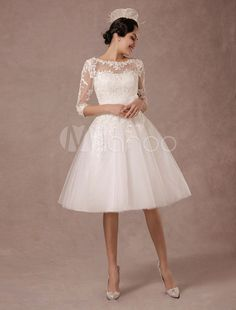 Resumo do casamento vestido Vintage Lace Applique tempo mangas chá-comprimento-line tule vestido de noiva com faixa de flor