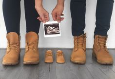 Pregnancy announcement Timberland shoes for three Pregnancy Announcement Shoes, Third Baby Announcements, Pregnancy Announcement Photography, Baby Boy Announcement, Cute Pregnancy Photos, Baby Timberlands, Cute Baby Pictures, Sneakers Fashion, Maternity