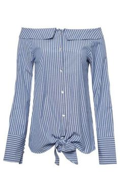 Camisa listras ombro a ombro - azul Camisa Listrada Feminina 30b17eb503be7