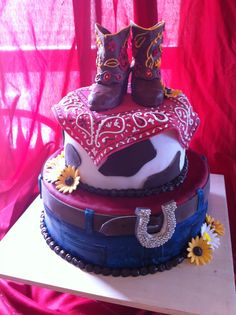 Country Baby Shower Cake...Ceras cake? Bandana will need to be a pink fushia color and the boots would be pink.