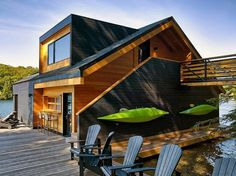 design floating wooden house Floating Lake House in Upstate New York by Altius Architecture