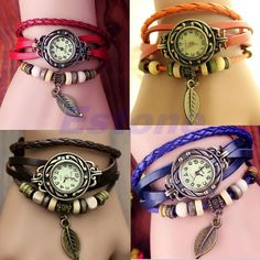 Womens Retro Bracelet Quartz Wrist Watch Weave Leather Band With Leaf Beads