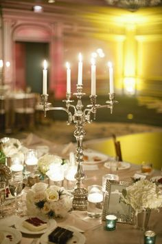 """If you looked up """"timeless wedding"""" in the (imaginary) _International Dictionary of Wedding Terms_, this wedding by Harwell Photography would most certainly appear. 1920s Wedding, Wedding Prep, Timeless Wedding, Wedding Table, Fall Wedding, Candelabra Centerpiece, Silver Candelabra, Low Centerpieces, Centrepieces"""