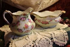 Antique Porcelain Cream and Sugar Set - Royal Bayreuth Bavaria Priv. 1794