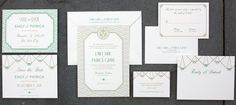 Savoy Suite - Postscript Brooklyn - Totally customizable wedding invitation suites from psbrooklyn.com Deco Wedding Invitations, Wedding Invitation Suite, Art Deco Era, Brooklyn, Deco Save The Dates, Art Deco Wedding Invitations, Wedding Announcements