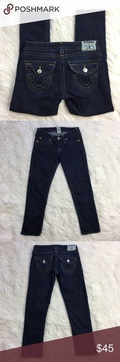 "•• True Religion Capri • Pants Jeans Denim EUC Super cute hard to find crop Capris by True Religion. They are in excellent condition overall and have only been worn a handful of times. Crops do come slightly distressed from designer.   Measurements (Approx.) Inseam: 24"" Waist: 14""  Comes from a pet free smoke free home. (LLR1-0119) True Religion Jeans Ankle & Cropped"