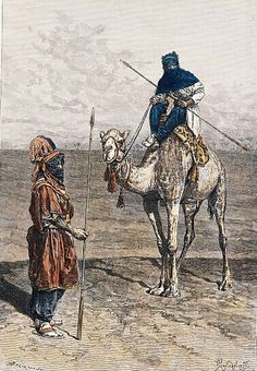 Algérie - TYPES ET COSTUMES : TOUAREG EN EXPÉDITION :Gravure sur bois aquarelle à la main, 1894. Dessin de Prasnisnikoff gravé par Bertrand.