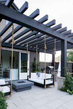 Patio Pergola with swing beds and outdoor kitchen Patio Pergola with swing beds . : Patio Pergola with swing beds and outdoor kitchen Patio Pergola with swing beds . Pergola Patio, Modern Pergola, Pergola Swing, Backyard Patio Designs, Deck With Pergola, Pergola Designs, Diy Patio, Patio Ideas, Pergola Ideas