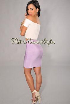 Lavender elastic midi skirt