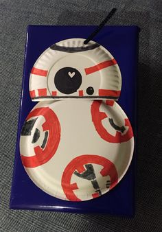 Bb8 Valentine box - made with a shoe box and a couple small white paper plates. Super easy!
