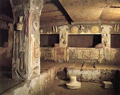 Image 1 - Burial chamber, Tomb of the Reliefs. Cerveteri, Italy Image 2 - Tomb of Hunting and Fishing. Tarquinia, Italy Image 3 - Tomb of Orcus. Ancient Tomb, Ancient Ruins, Ancient Artifacts, Ancient History, Carthage, Roman History, Art History, Fresco, Monuments