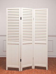 White shutter room divider