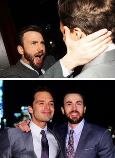 Chris Evans and Sebastian Stan. His face in the top pic though. And then the satisfaction on Seb's face on the bottom picture. Sebastian Stan, Bucky Barnes, Ben Barnes, Chris Evans Tumblr, Chris Evans Funny, Chris Evans Beard, Robert Evans, Steve Rogers, Captain America And Bucky